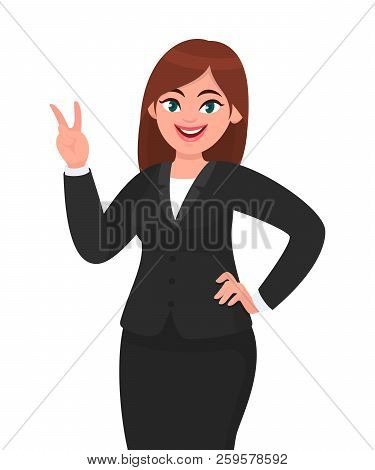 Successful Happy Businesswoman Showing / Gesturing V Or Victory Sign. Businesswoman Showing Two Fing