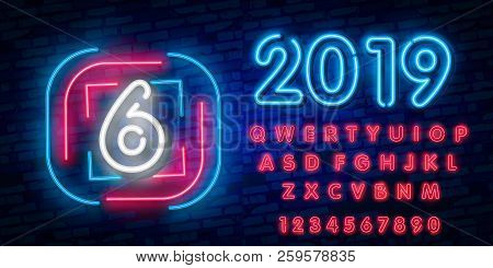 Neon City Font Sign Number 6, Signboard Six. Vector Illustration. Number Six Template Neon Icon, Lig