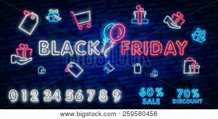 Black Friday Sale Neon Sign, Neon Banner, Background Brochure. Glowing Neon Sign, Bright Glowing Adv