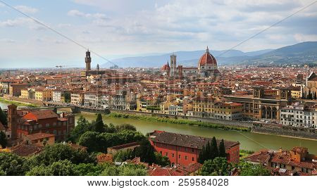 View Of Florence Cathedral (duomo Santa Maria Del Fiore) And Palazzo Vecchio In Florence Skyline Dur