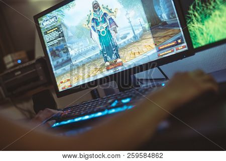 Wroclaw, Poland -  September 04th, 2018: Woman Playing World Of Warcraft: Battle Of Azeroth Game. Wo