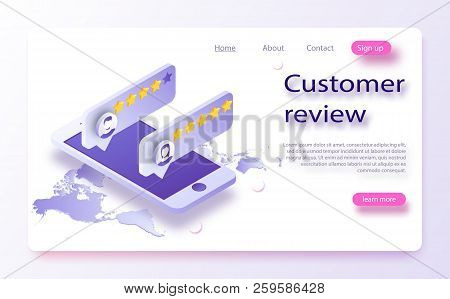Customer Review Concept. Feedback, Reputation And Quality Concept. Review Rating On Mobile Phone Vec