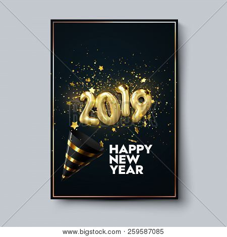 happy new 2019 year holiday poster template or festive party invitation design vector illustration new year event decoration of sparkling golden confetti