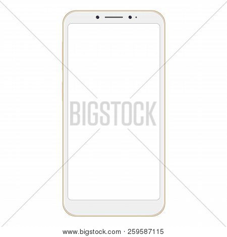 Realistic Golden Smartphone Isolated On White Background. Smartphone Mockup With Blank Screen. Golde