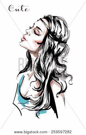 Hand Drawn Beautiful Young Woman Profile. Stylish Elegant Girl With Long Blond Hair. Fashion Woman P