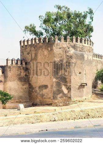 Fortress Wall With Battlements In The City Of Fez. Morocco