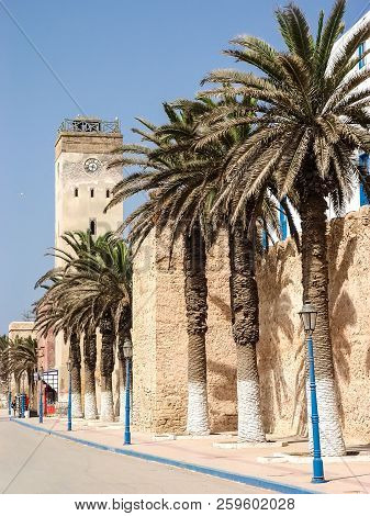 Fortress Walls And The Clock Tower In The Moroccan City Of Essaouira