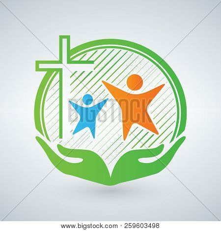 Hands Of Mercy Or Care. Christian Logo, People, Children, Women. Open Arms And Cross. The Symbol Of