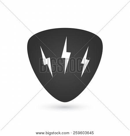 Hard Rock Badge Or Label With Lightning. Guitar Pick Mediator. For Hard Rock Music Band Festival Par