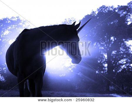 Image of a magical unicorn against hazy sunrise with sun rays