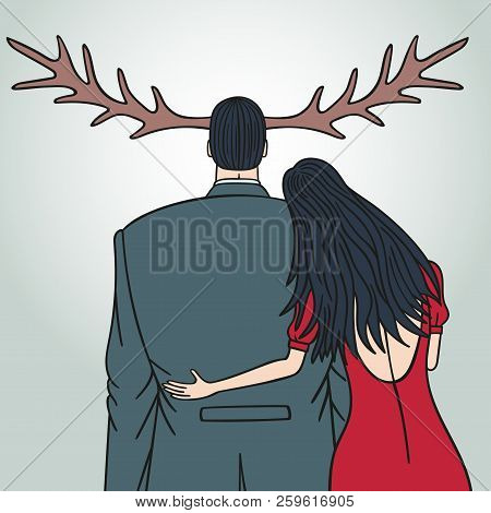 Unfaithful Wife Cheating On Her Husband. The Man Grew Horns.