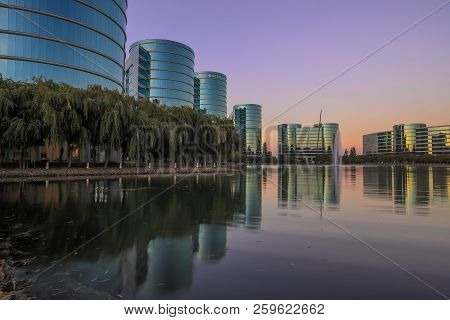 Redwood Shores, California - September 22, 2018: Oracle Headquarters And Lake With Sunset Skies. Ora