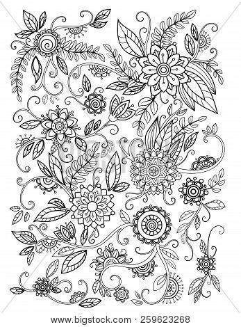 Floral Adult Coloring Page. Black And White Doodle Flowers. Bouquet Line Art Vector Illustration Iso