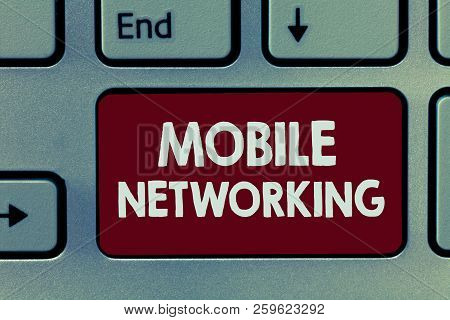 Handwriting Text Mobile Networking. Concept Meaning Communication Network Where The Last Link Is Wir