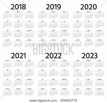 Calendar 2018, 2019, 2020, 2021, 2022, 2023 Year. Week Starts Sunday. Vector. Stationery 2019 Vertic