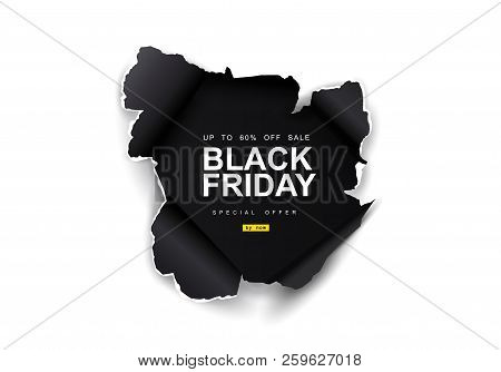 Black Friday Sale Background. Hole In Black Paper On White Background. Big Sale, Black Friday, Creat