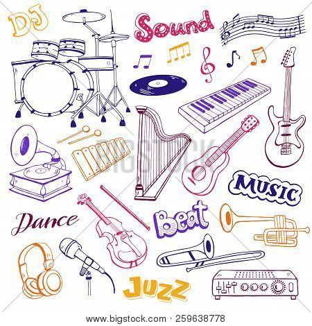 Hand Drawn Musical Instruments Isolated On White Background. Doodle Music Elements Vector Illustrati