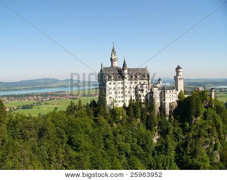 "Neuschwanstein Castle in Germany, built by/for ""crazy"" King Ludwig II, which inspired the 'Sleeping Beauty' image of castles. It was Walt Disney's inspiration for Cinderella's castle. poster"