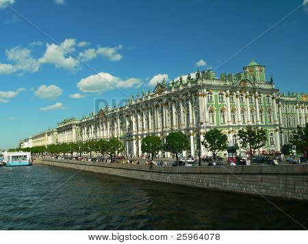 Winter palace by Neva in St. Petersburg, Russia.