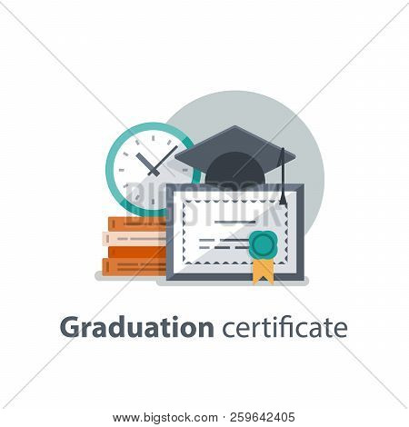 Education concept, graduation hat, diploma and clock, degree certificate, accomplishment, vector illustration poster