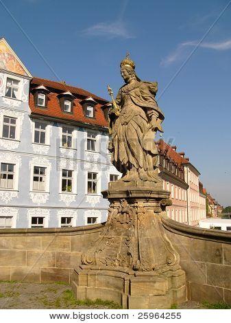 Monument on bridge in Bamberg, Bavaria, Germany.