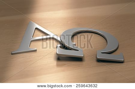 3d Illustration Of Alpha And Omega Symbols, First And Last Letters Of The Greek Alphabet.