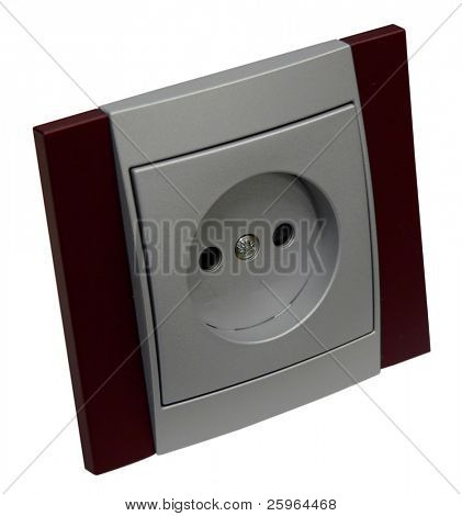 Modern silver socket outlet on isolated background