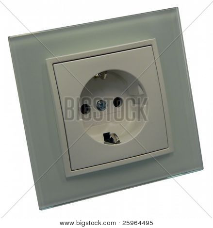 Glass socket outlet on isolated background
