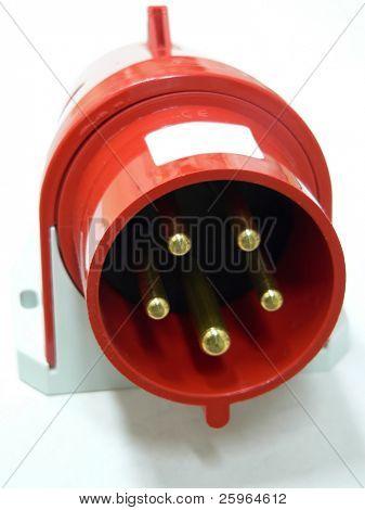 Red industrial plug
