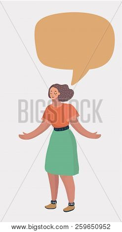 Cheerful Young Girl Standing With Empty Speech Bubble Over White Background. Orange Blank Cloud For