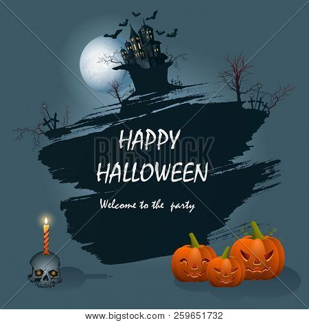 Festive Greeting Card For Halloween On A Blue Background.vector Illustration.