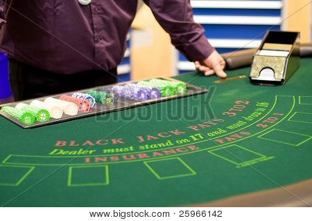 Casino table with cards ready for playing