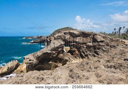 Rugged Shoreline And Atlantic Ocean Of Punta Las Tunas At Cueva Del Indio North Coast Puerto Rico