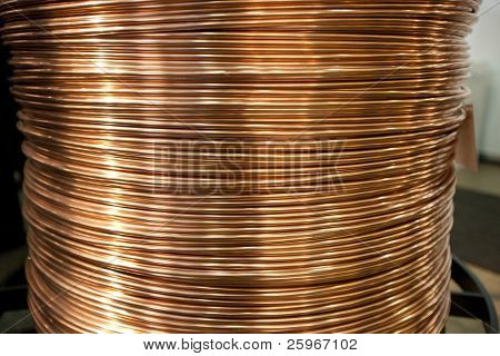 Huge copper wire spool for electrical and power industry