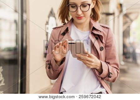 Happy Smiling Businesswoman Using Modern Smartphone Device, Successful Female Entrepreneur Using Cel