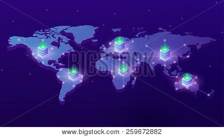 Computing Services Concept. Landing Pages Website Template Servers On The World Map. Concept Of Big