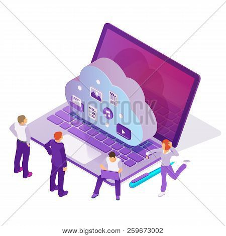 Cloud Data Storage And Remote Data Access Flat 3d Isometric Business Concept. Design Template From L