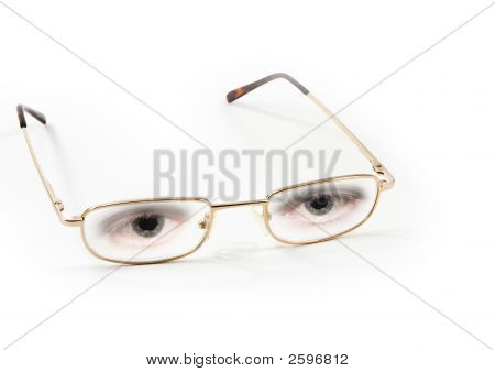 Pair Of Eyeglasses With Eyes, White Background
