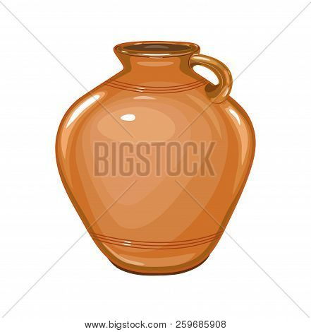 Ceramic, glossy pitcher . Dishes for liquid. Isolated, white. vector