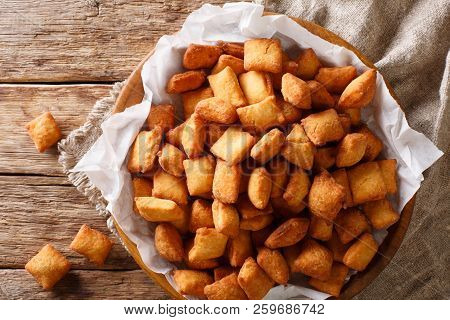 West African Popular Food: Appetizer Chin Chin Fried Crispy Dough Close-up In A Bowl. Horizontal Top
