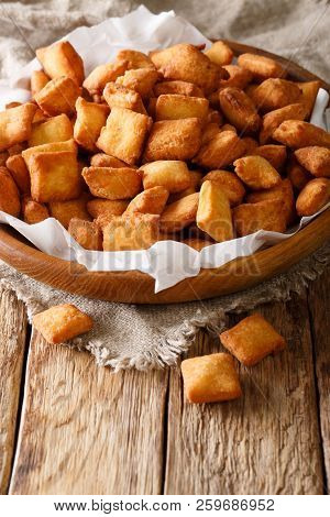 Nigerian Christmas Food: Appetizer Chin Chin Fried Dough Close-up In A Bowl. Vertical