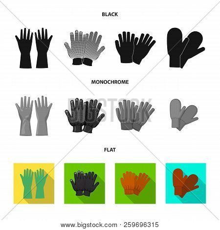Isolated Object Of Glove And Winter Sign. Collection Of Glove And Equipment Stock Vector Illustratio