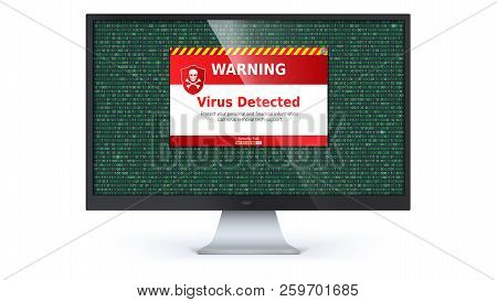 Alert Message Of Virus Detected. Warning Message On Computer Screen Isolated On White Background. Co
