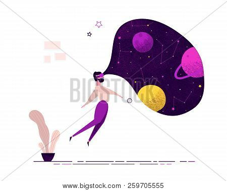 Man Wearing Virtual Reality Glasses Seeing Space Galaxy Universe Planets Being At Home On Weekend. I