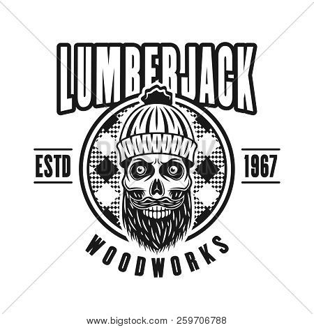 Lumberman Skull With Beard And Circle Vector Emblem In Vintage Monochrome Style Isolated On White Ba