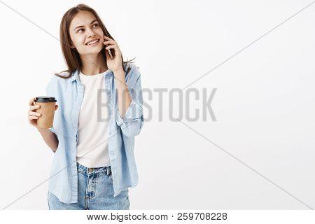 Cute Happy Woman Inviting Girlfriend Take Drink In Cafe Near Office Holding Smartphone Near Ear Gazi