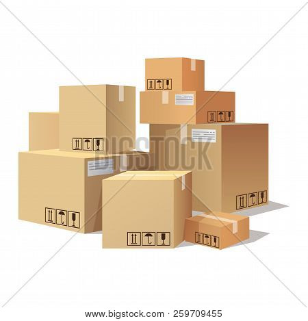 Many Cartons, Boxes Of Different Size, Pile Of Package