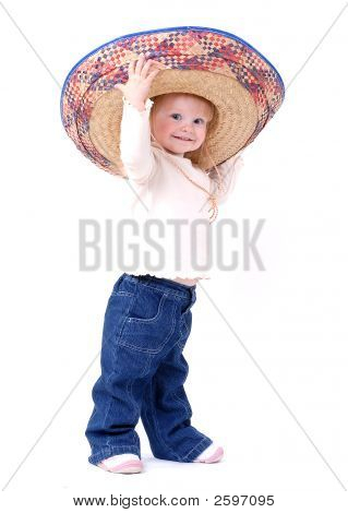 Cute Toddler Wearing A Mexican Hat