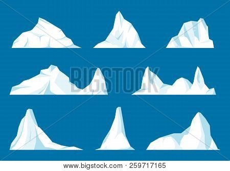 Floating Iceberg Set. Frozen Mountain And Icy, Frezen Liquid And North Theme.set Of Isolated Iceberg