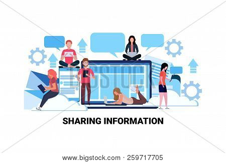 People Using Internet Gadgets Social Network Sharing Information Concept Online Share Connection Com